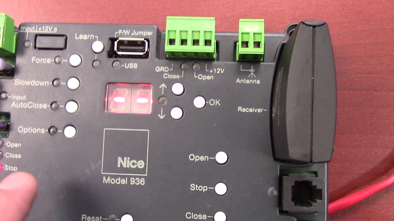 Nice-Group-936-Control-Board-Demonstration-Adjusting-Slowdown-and-Auto-Close